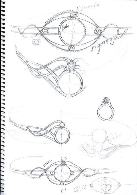 bocetos para diadema El Gran Ojo