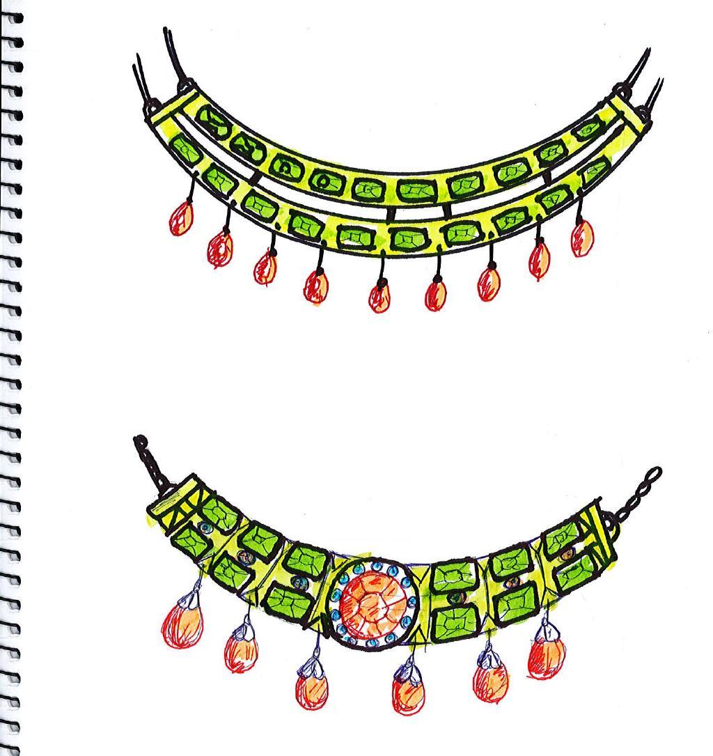 estudio para diseño del collar de Amina