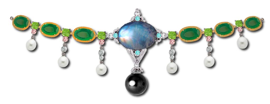 Tocado de esmeraldas y perlas